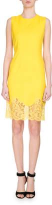 Givenchy Sleeveless Lace-Hem Sheath Dress, Yellow