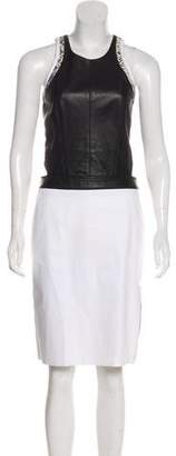 Helmut Lang Leather-Accented Midi Dress
