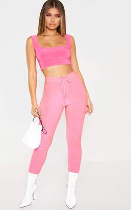 PrettyLittleThing Neon Pink Disco Lace Up Front Legging