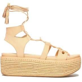 Stuart Weitzman Lace-up Leather Platform Espadrille Sandals