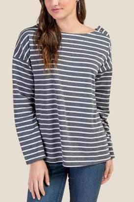 francesca's Caroline Striped Button Sleeve Tee - Charcoal