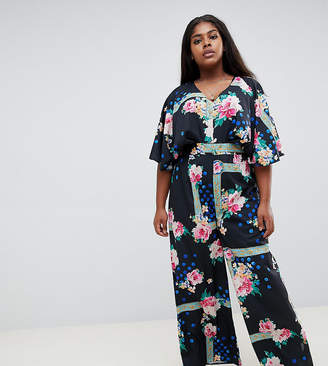 37a369826bf Asos DESIGN Curve jumpsuit with overlay and wide leg in floral print