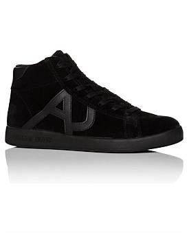 Armani Jeans Suede High Profile Sneaker W/ Tonal Aj Logo