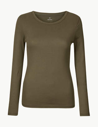 Marks and Spencer Pure Cotton Long Sleeve Regular Fit T-Shirt