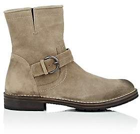 Barneys New York MEN'S WAXED SUEDE MOTO BOOTS - BEIGE/TAN SIZE 7 M