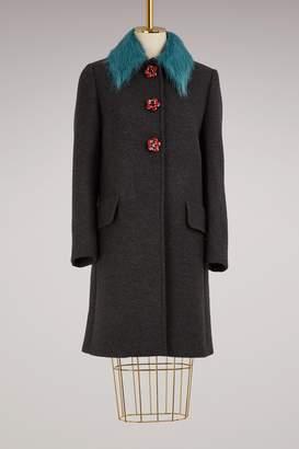 Miu Miu Wool coat with jewel buttons