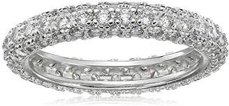 Sterling Silver Cubic Zirconia Pave Eternity Band Ring