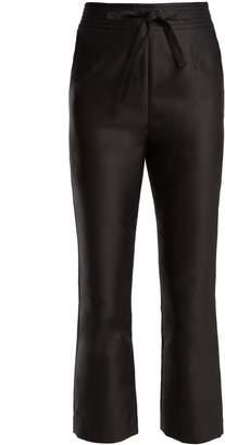 Isa Arfen Tie-waist straight-leg satin cropped trousers