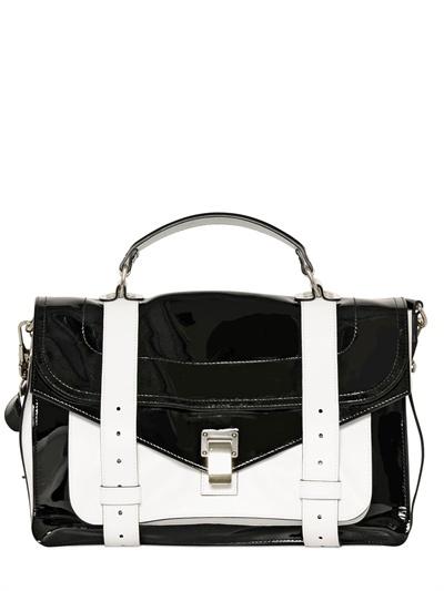 Ps1 Medium Patent Leather Satchel Bag