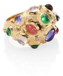 Temple St. Clair Cosmos Bombe Diamond, Semi-Precious Multi-Stone& 18K Yellow Gold Ring