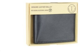 Montauk Leather Club Men's RFID Signal Blocking Genuine Leather Fixed Passcase with Gift Box