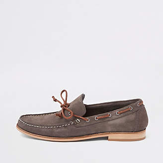 River Island Brown suede tie front loafers