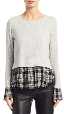 Generation Love Noa Plaid Cuffs& Hem Top