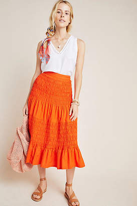 Maeve Under The Sun Smocked Midi Skirt