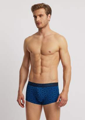 Emporio Armani Jersey Boxers With Logo Pattern And Elasticated Logo Waistband