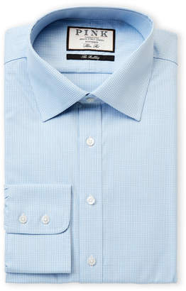 Thomas Pink Slim Fit Check Long Sleeve Dress Shirt