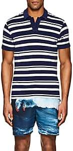 Orlebar Brown Men's Striped Cotton Terry Polo Shirt - Navy