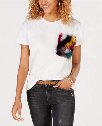Say What Juniors' Faux-Fur-Pocket T-Shirt