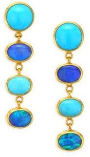Gurhan Amulet Hue 24K Gold Turquoise and Opal Long Drop Earrings
