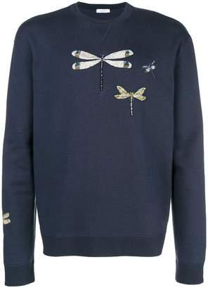 Valentino dragon fly embroidered sweatshirt