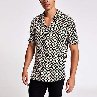 River Island Black geo print short sleeve slim fit shirt