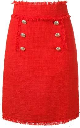 MSGM bouclé tweed frayed skirt