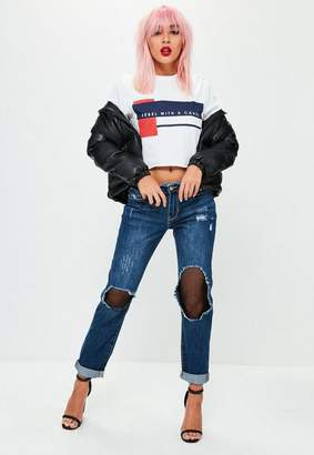 Missguided Blue Low Rise Ripped Mesh Boyfriend Jeans