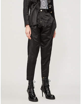 Vivienne Westwood Alcoholic cropped mid-rise cotton-blend tapered trousers