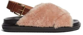 Marni Fussbett Shearling And Leather Slingback Sandals - Womens - Nude