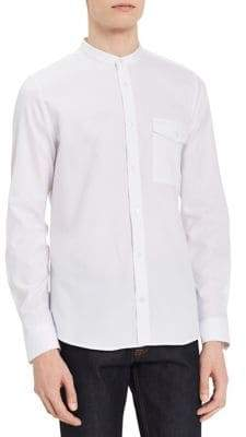 Calvin Klein Slim Fit Banded Collar Long Sleeve Sport Shirt