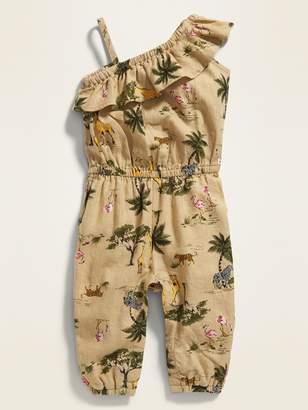 Old Navy Printed One-Shoulder Linen-Blend Jumpsuit for Baby