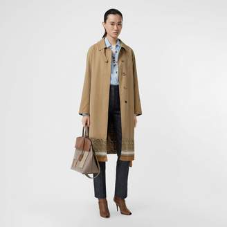 Burberry Monogram Print Silk Panel Cotton Car Coat