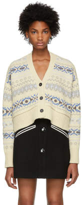 Miu Miu White Cropped Fair Isle Cardigan