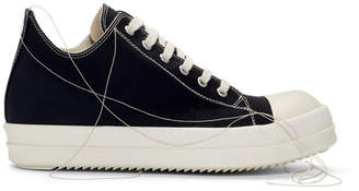 Rick Owens Black 2-Tone Stitch Low-Top Sneakers