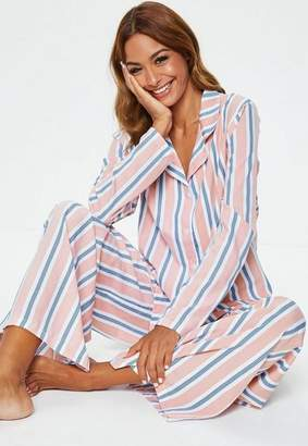 Missguided Pink Striped Woven Long Sleeve Top & Trouser Pyjama Set