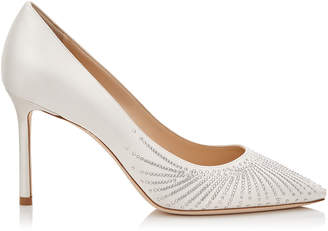 Jimmy Choo ROMY 85 Ivory Satin Pointy Toe Pumps with Shooting Crystals