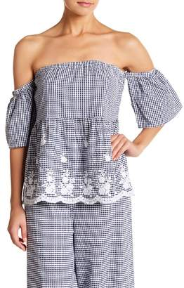 AMERICA & BEYOND Gingham Printed Off-The-Shoulder Top
