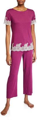 Natori Shangri La Luxe Lace-Trim Pajama Set