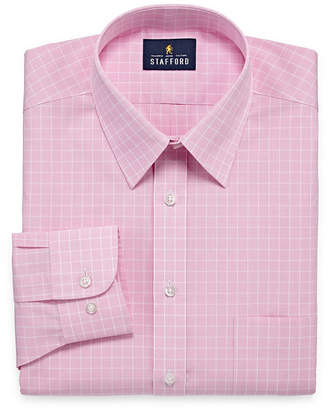 STAFFORD Stafford Travel Performance Super Shirt Big And Tall Long Sleeve Broadcloth Checked Dress Shirt