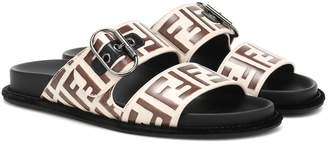 Fendi Logo leather sandals