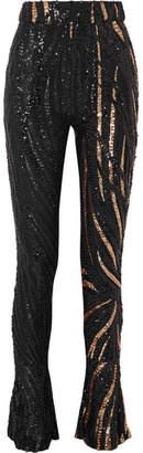 Halpern - Sequined Tulle Slim-leg Pants - Black