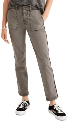 Madewell Stovepipe Fatigue Sparkle Side Stripe Pants