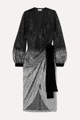 Raquel Diniz Jade Velvet-trimmed Ombré Sequined Tulle Wrap Dress - Silver