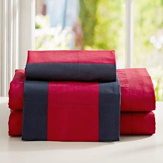 Pottery Barn Teen Rugby Stripe Sheet Set, Full, Navy/ Red
