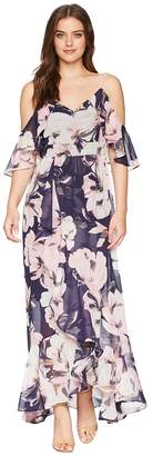 Vince Camuto Printed Chiffon Cold Shoulder Maxi Dress with Ruffled Skirt Women's Dress