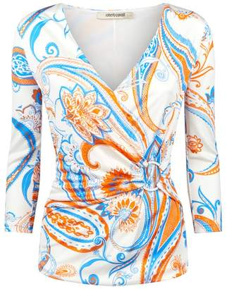 Roberto Cavalli Bandana Paisley Wrap-Around Top