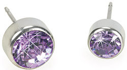 Blomdahl Silver Titanium Bezel Violet Earrings