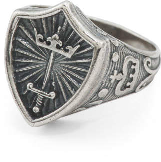 Men's Made In Italy Oxidized Sterling Silver Medieval Ring