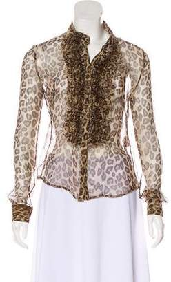 fac6cd7f28 Alexander McQueen Silk Animal Print Blouse