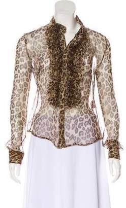 938188de62d9e Alexander McQueen Silk Animal Print Blouse
